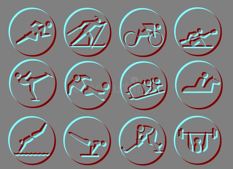 Ícones do símbolo do esporte ilustração stock