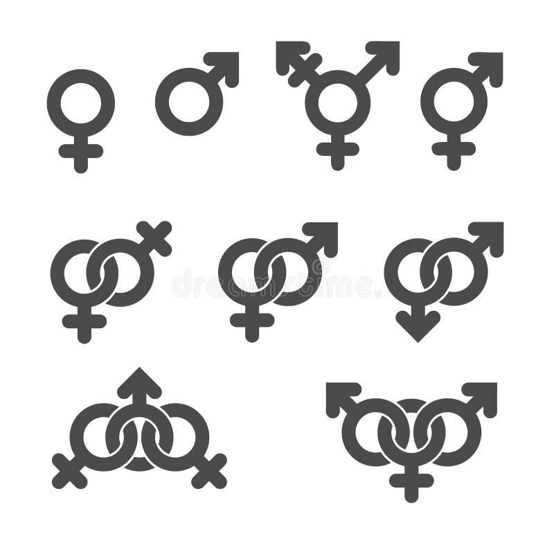 Ícones do símbolo do gênero. ilustração stock