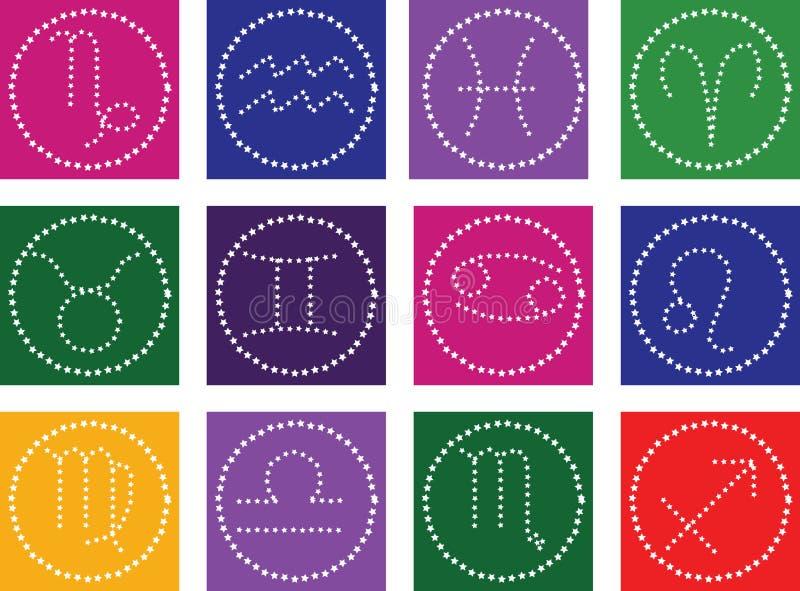 Ícones do símbolo do zodíaco no fundo da cor ilustração stock