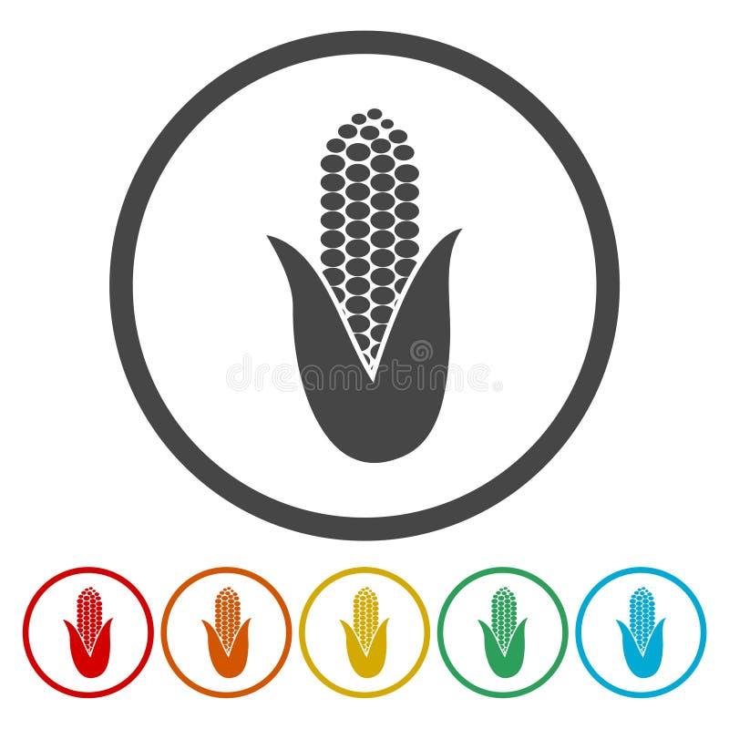 Ícones do símbolo do milho ajustados ilustração royalty free