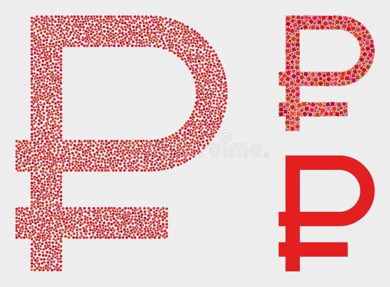 Ícones do símbolo do rublo do vetor de Pixelated ilustração royalty free