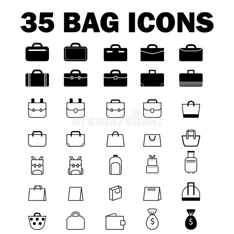 35 ícones do saco ilustração stock
