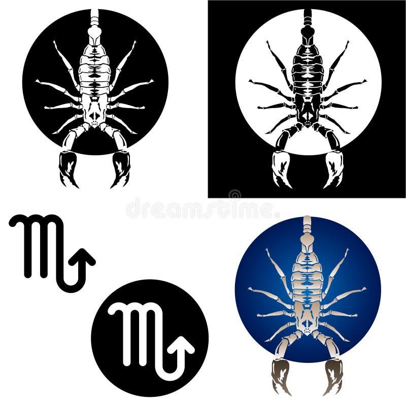 Ícones do Scorpio do zodíaco ilustração stock