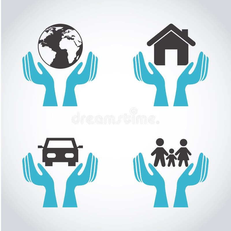 Ícones do seguro ilustração royalty free