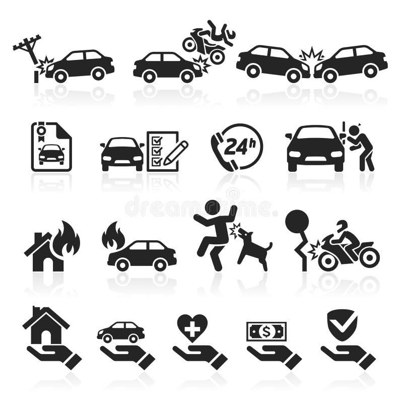 Ícones do seguro ajustados ilustração do vetor