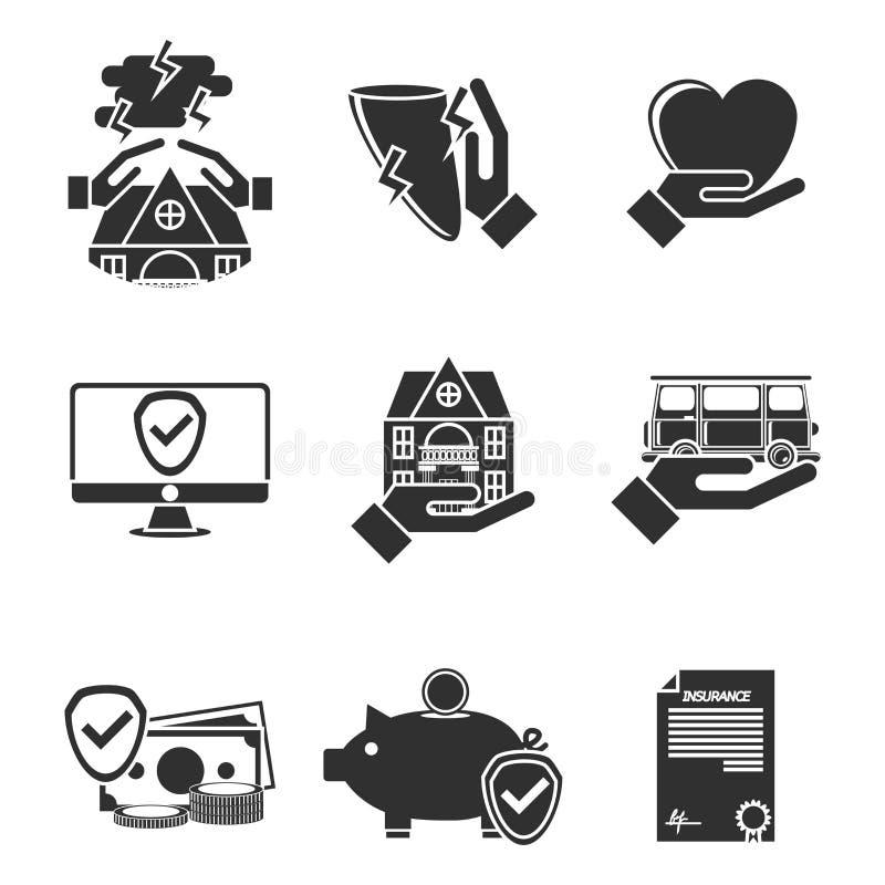 Ícones do seguro ajustados ilustração royalty free