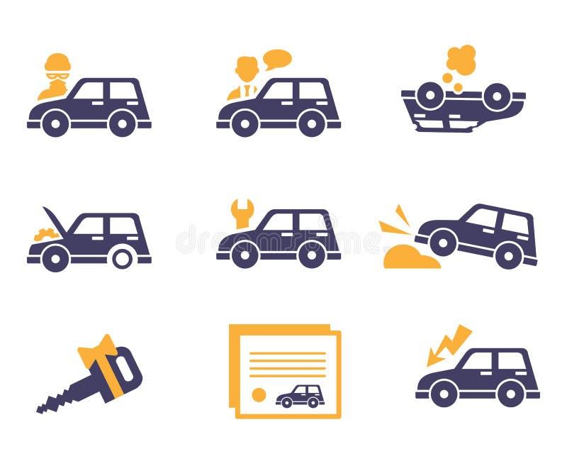 Ícones do seguro de carro no estilo liso ilustração royalty free
