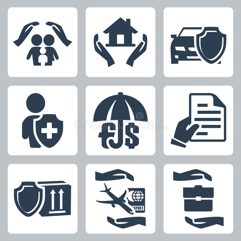 Ícones do seguro do vetor ajustados ilustração do vetor