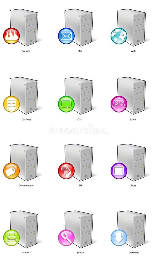Ícones do server ilustração royalty free