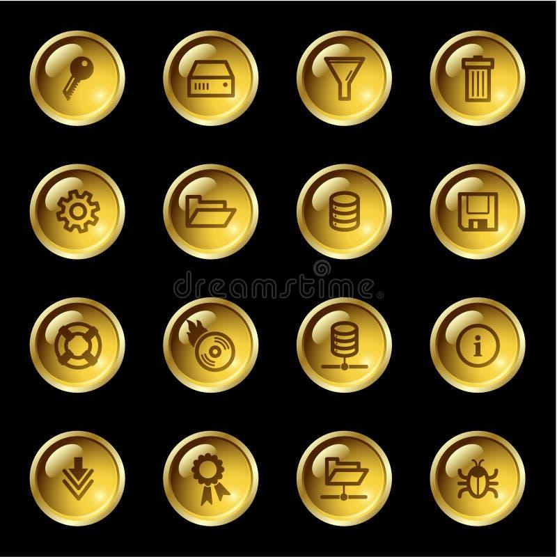Ícones do server da gota do ouro ilustração stock