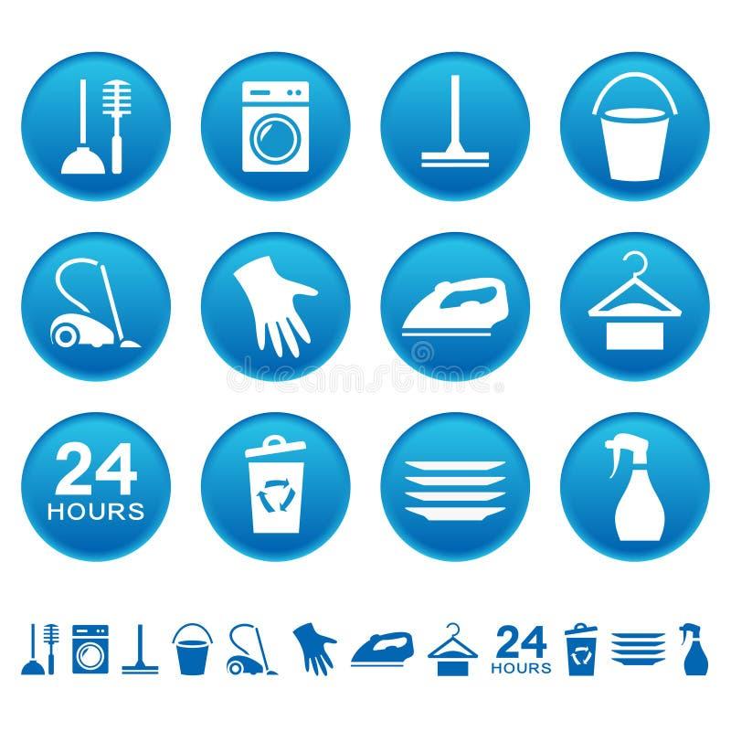 Ícones do serviço da limpeza ilustração do vetor