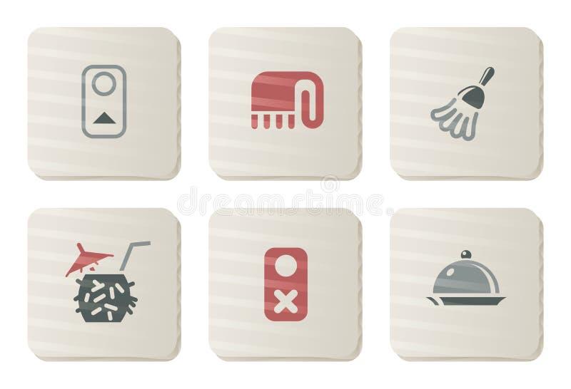 Ícones do serviço de quarto | Série do cartão ilustração do vetor