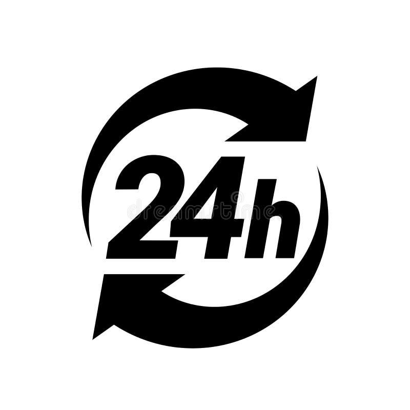 24 ícones do serviço horas de execução ou de entrega da ordem ilustração do vetor
