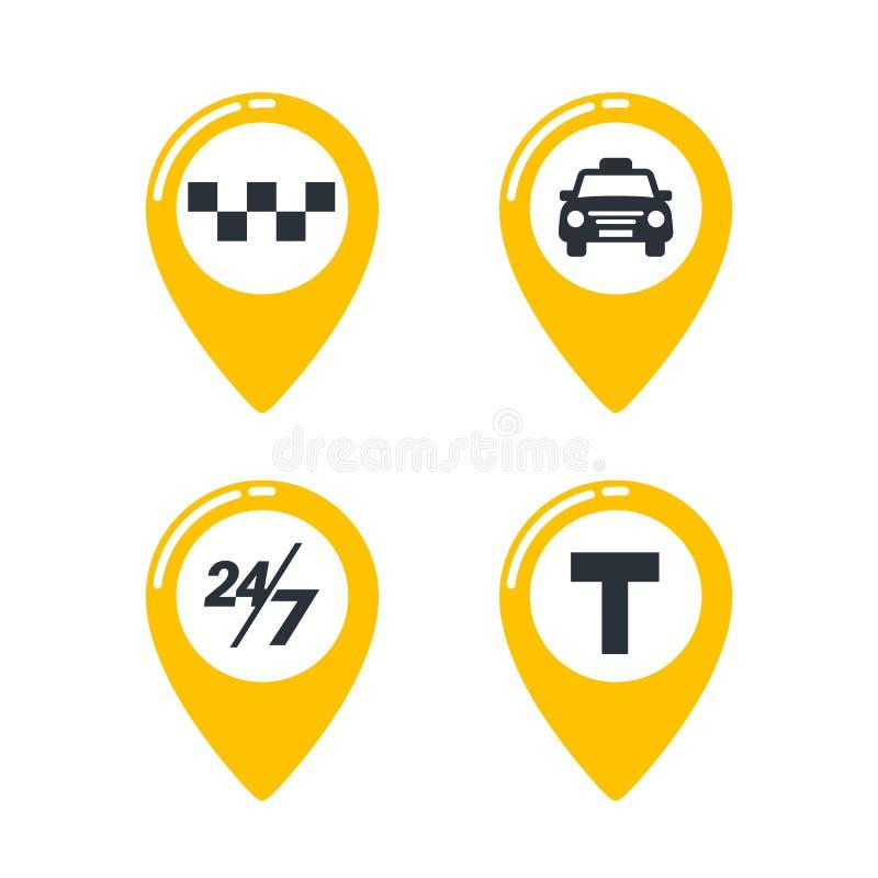 Ícones do serviço do táxi Pinos do mapa do táxi com verificadores, carro do táxi, T-sinal e twenty-four sinais sete no fundo bran ilustração royalty free