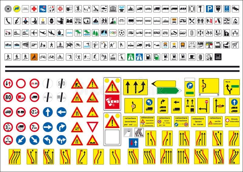 Ícones do sinal da estrada ilustração stock