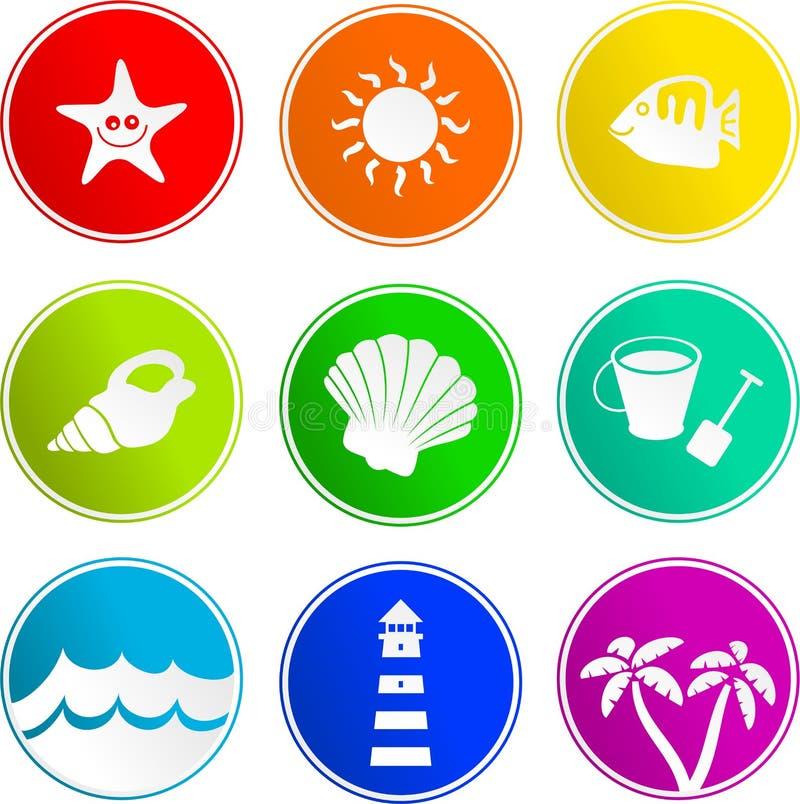 Ícones do sinal da praia ilustração royalty free