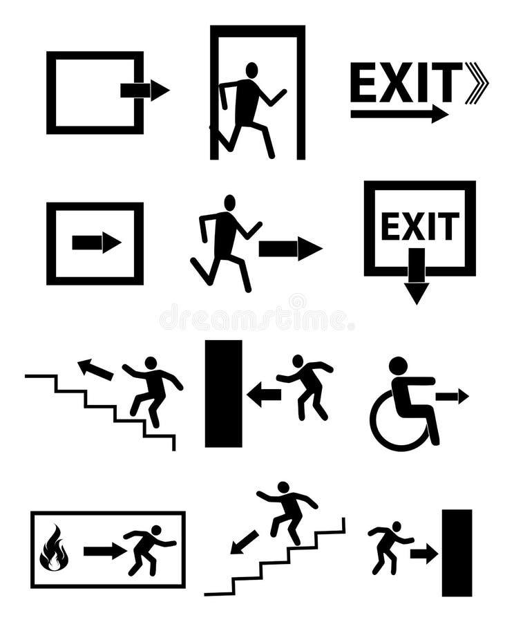Ícones do sinal da saída de emergência ajustados ilustração royalty free