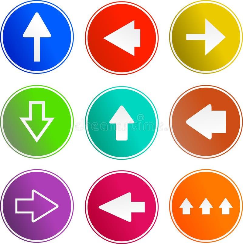 Ícones do sinal da seta ilustração stock