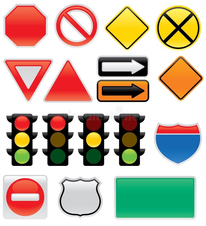 Ícones do sinal de tráfego ilustração royalty free