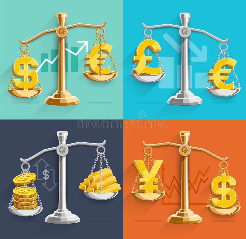Ícones do sinal do dinheiro e barras de ouro nas escalas ilustração stock