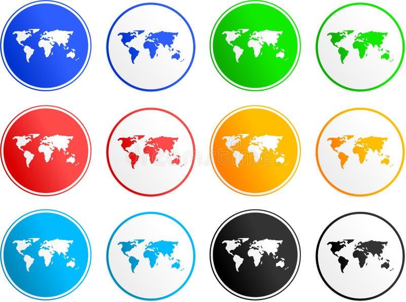 Ícones do sinal do mapa ilustração royalty free