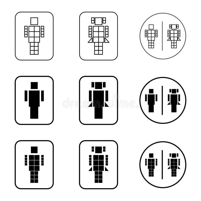 Ícones do sinal do robô do toalete ajustados fotografia de stock