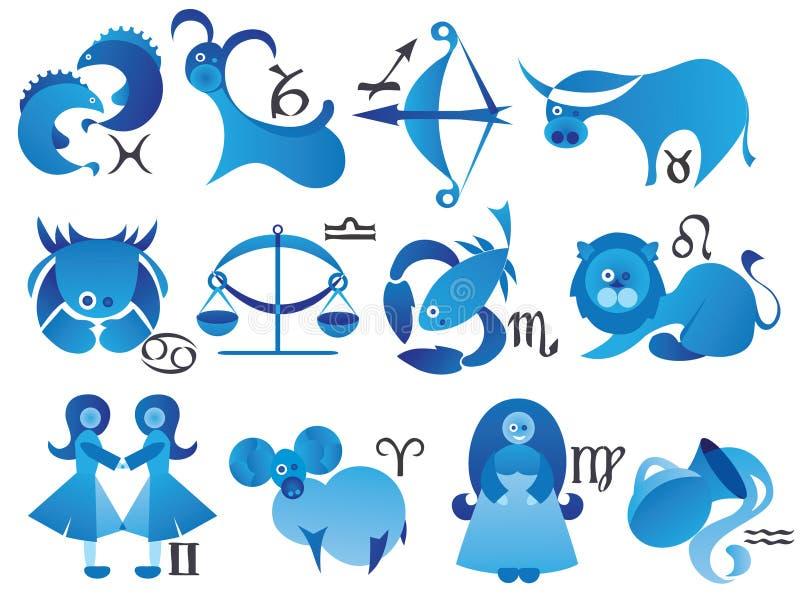 Ícones do sinal do zodíaco ilustração do vetor