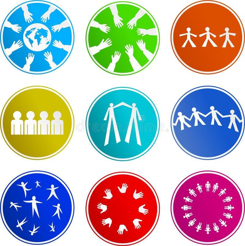 Ícones do sinal dos trabalhos de equipa ilustração do vetor