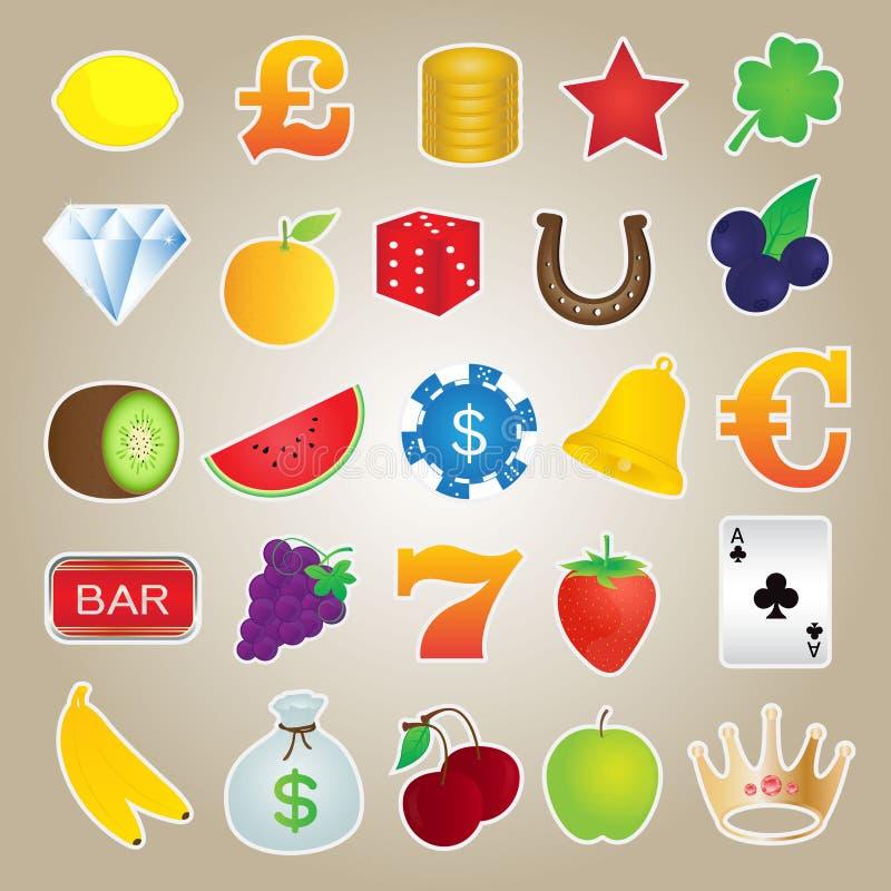 Ícones do slot machine ajustados ilustração royalty free