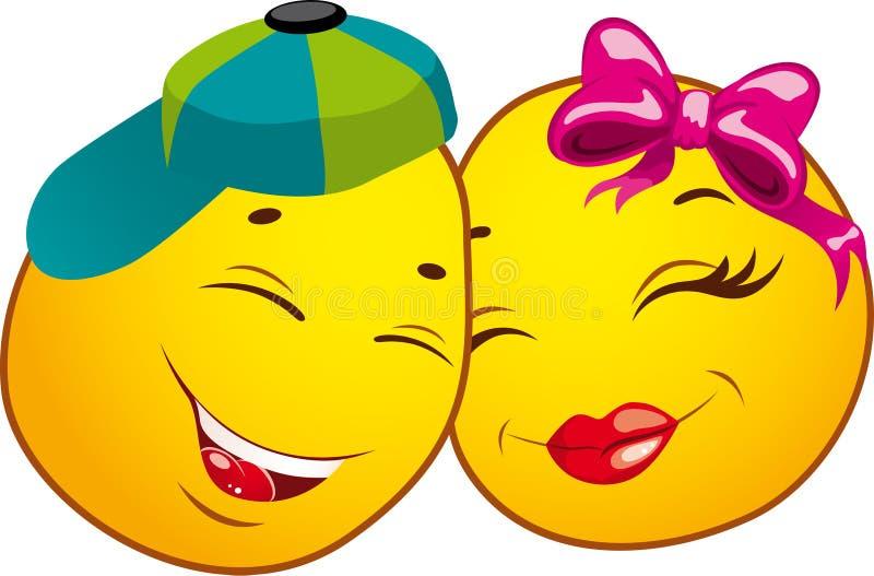 Ícones do smiley. AMOR ilustração stock