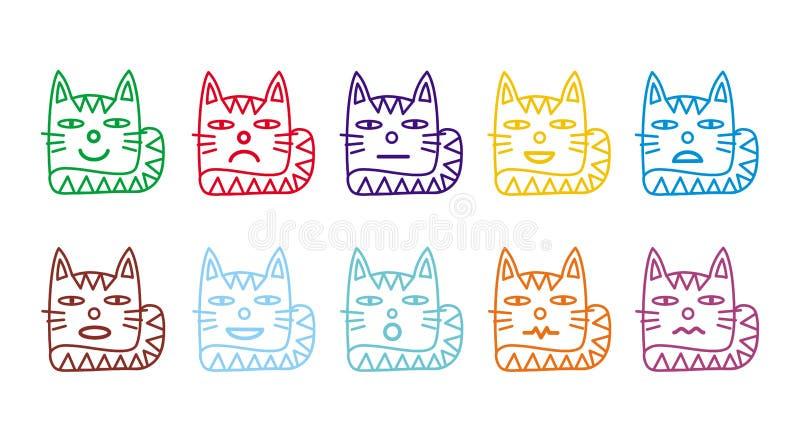 10 ícones do smiley sob a forma dos gatos engraçados ilustração royalty free