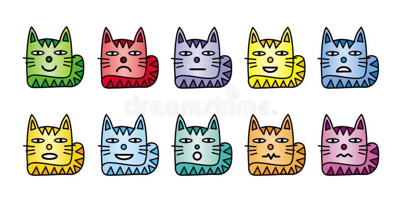 10 ícones do smiley sob a forma dos gatos engraçados ilustração do vetor