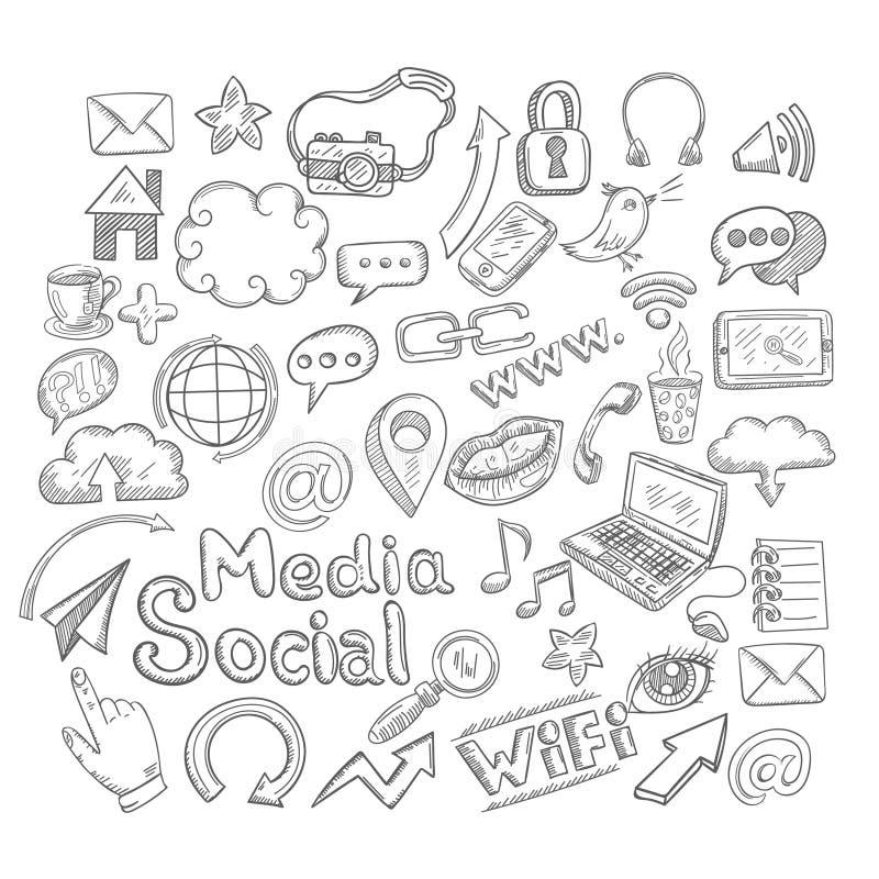Ícones do Social da garatuja ilustração stock