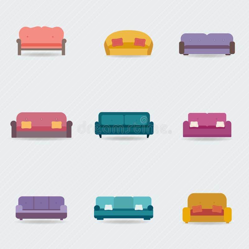Ícones do sofá ajustados ilustração do vetor