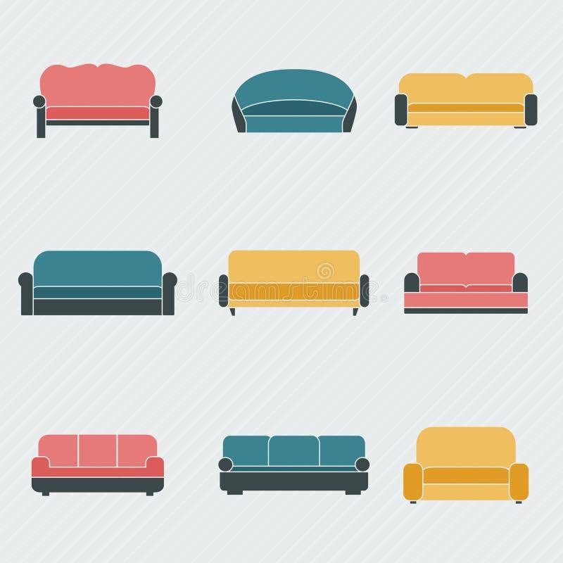 Ícones do sofá ajustados ilustração stock