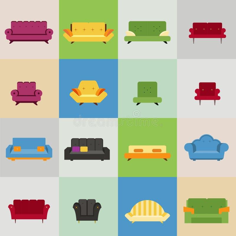 Ícones do sofá e da poltrona ilustração royalty free