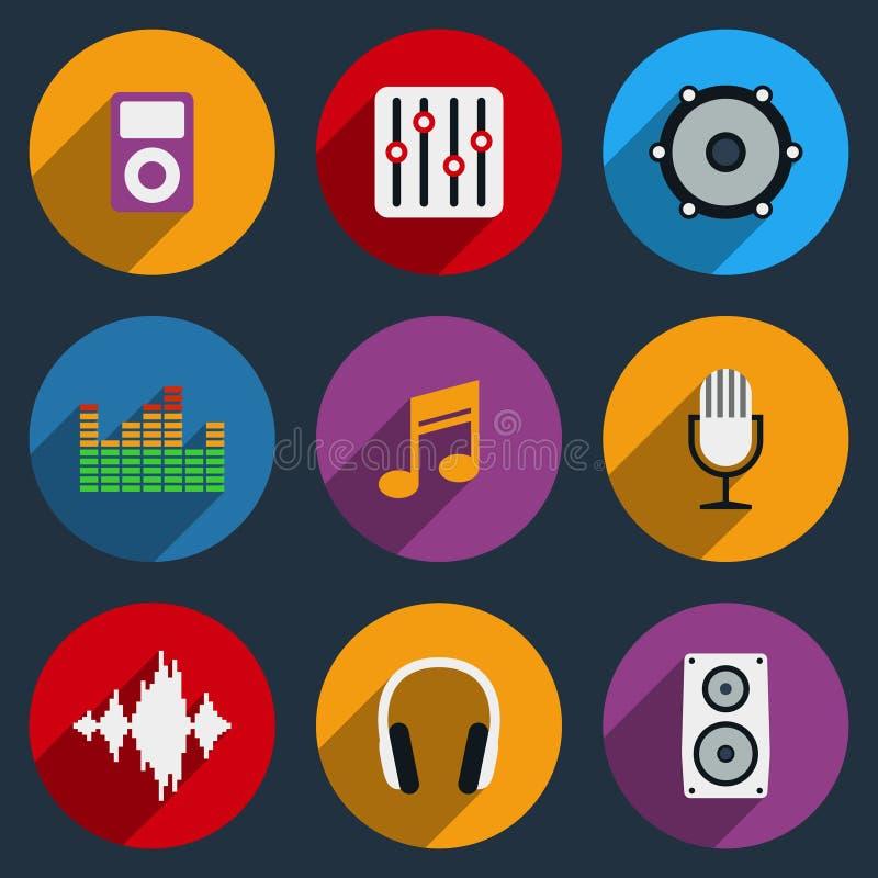 Ícones do som e da música ilustração stock
