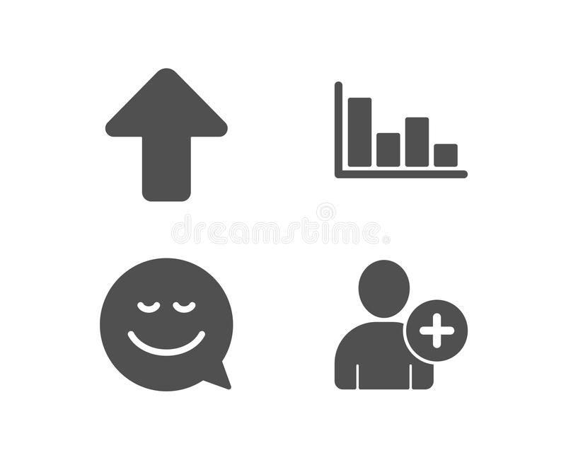 Ícones do sorriso, da transferência de arquivo pela rede e do histograma Adicione o sinal do usuário Converse a emoção, seta da c ilustração royalty free