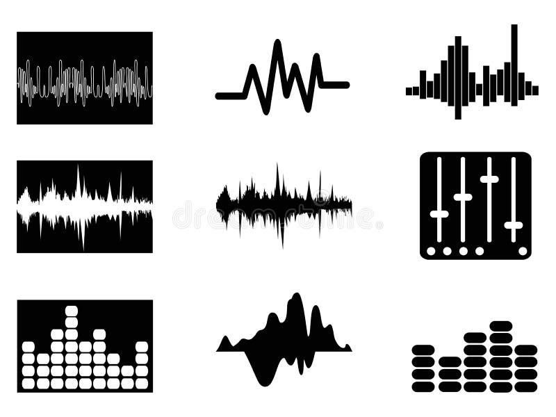 Ícones do soundwave da música ajustados ilustração royalty free