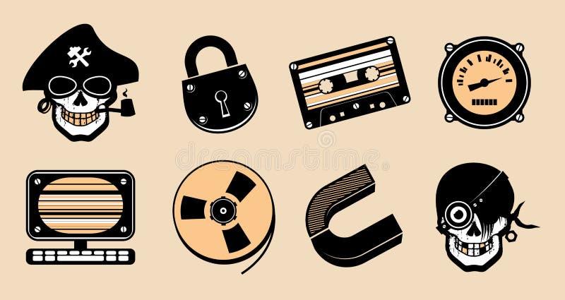 Ícones do steampunk dos desenhos animados. ilustração stock