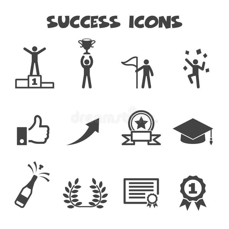 Ícones do sucesso ilustração stock