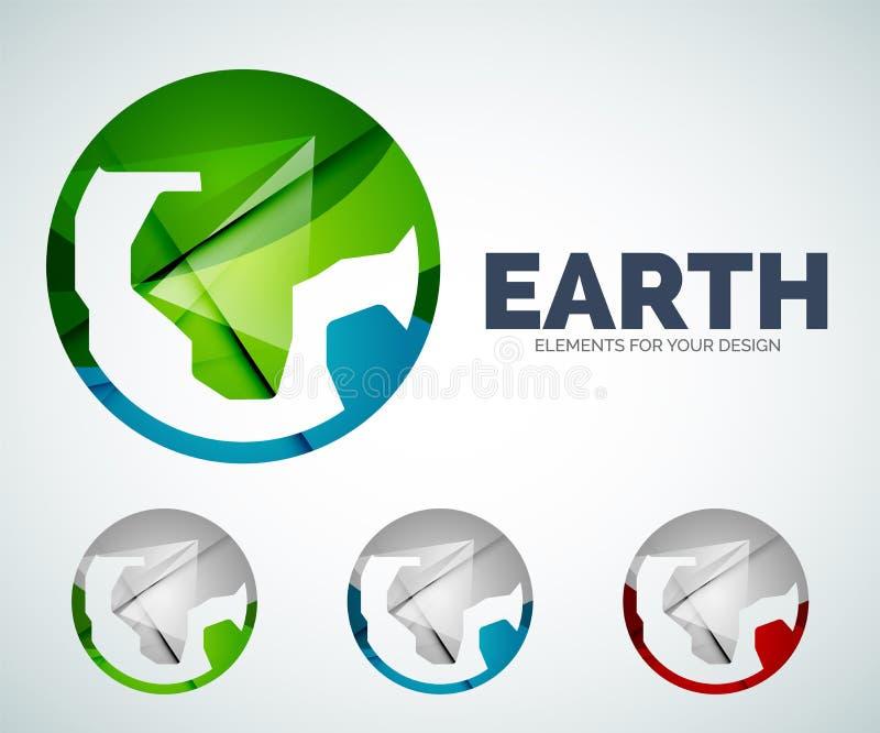 Ícones do sumário do círculo do globo da terra do vetor ilustração stock