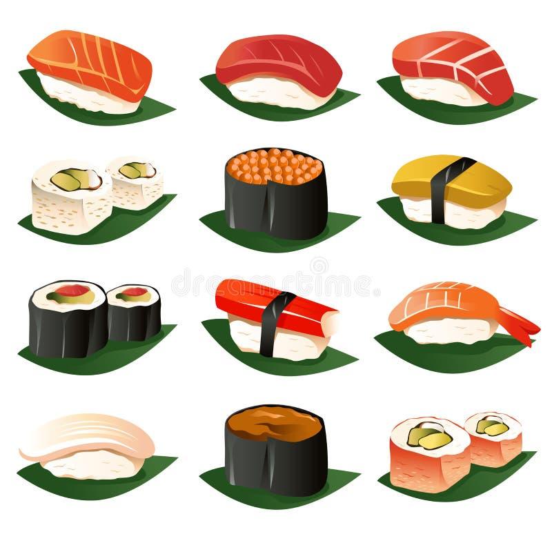 Ícones do sushi ilustração royalty free
