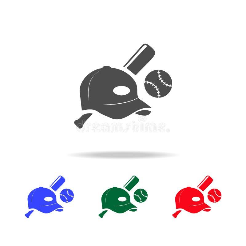 Ícones do tampão e do bocado da bola do basebol Elementos do elemento do esporte em multi ícones coloridos Ícone superior do proj ilustração do vetor