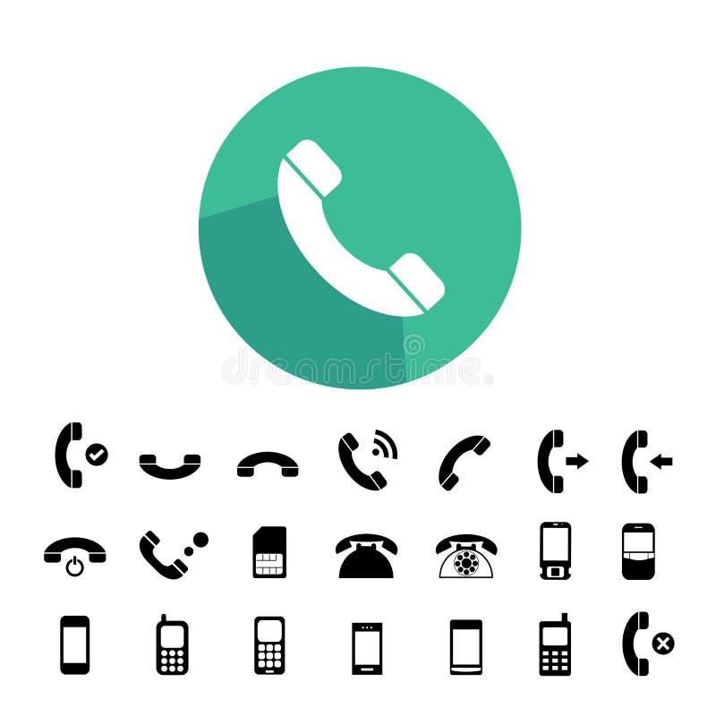 Ícones do telefone ajustados ilustração do vetor