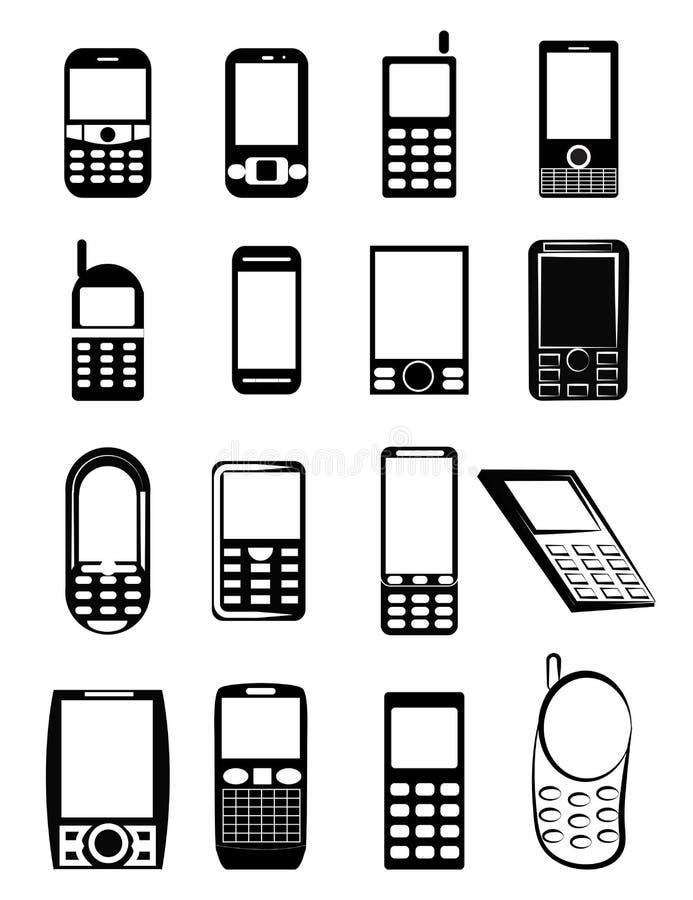 Ícones do telefone celular ilustração stock