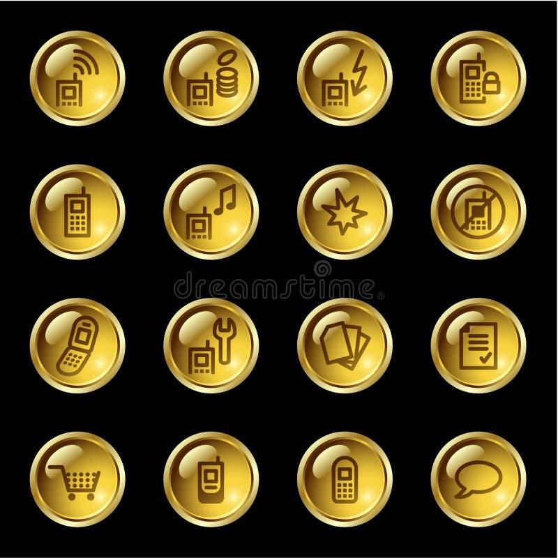 Ícones do telefone móvel da gota do ouro ilustração stock