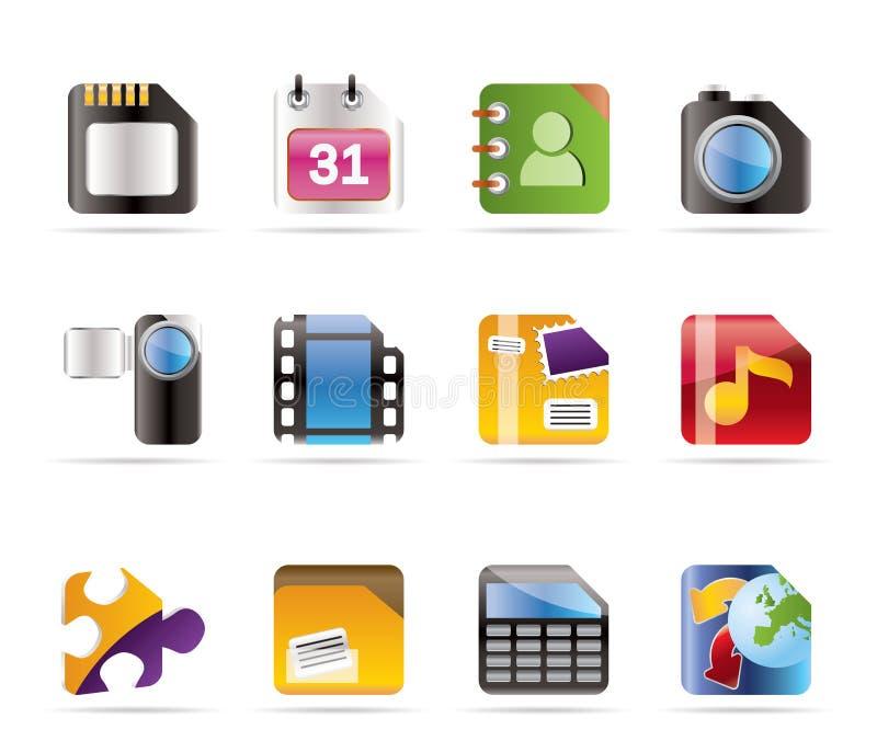 Ícones do telefone móvel, do computador e do Internet ilustração do vetor