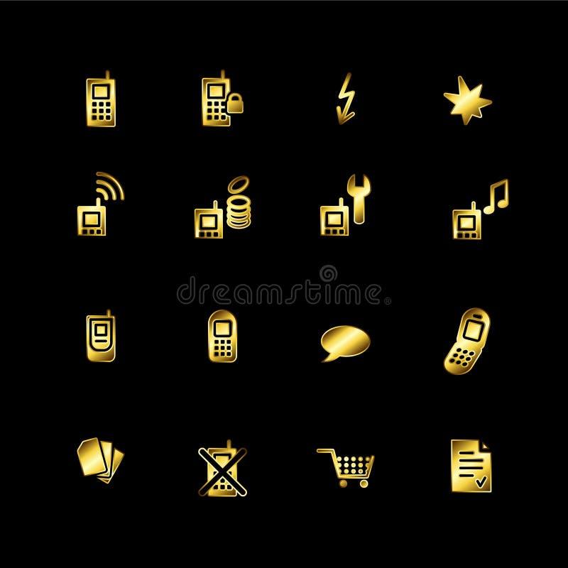 Ícones do telefone móvel do ouro ilustração royalty free
