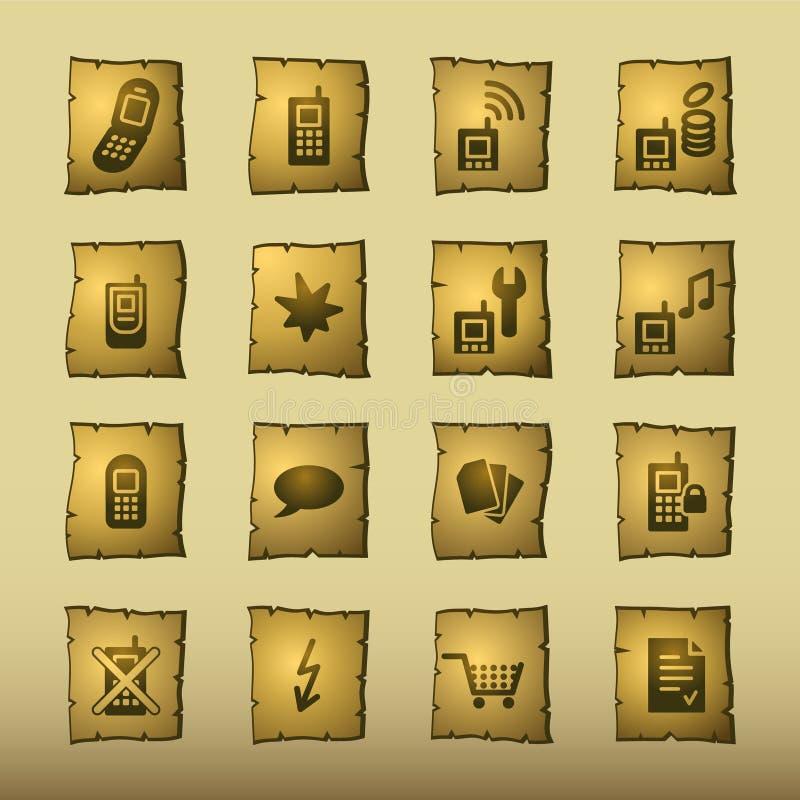 Ícones do telefone móvel do papiro ilustração stock